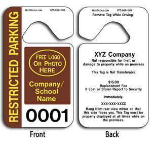 Standard Parking Hang Tags allow endless design possibilities and project a professional image. These durable Standard Parking Hang Tags are UV laminated front and back to give you the strongest parking permit available. Order today and get Free Numbering and Free Back Printing.