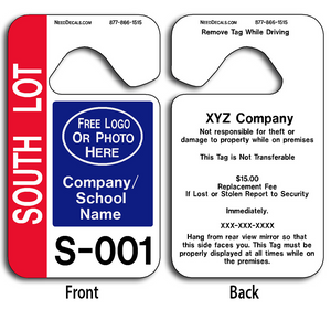 These durable Hang Tags For Cars are UV laminated front and back to give you the strongest parking permit available. Order today and get Free Numbering and Free Back Printing.
