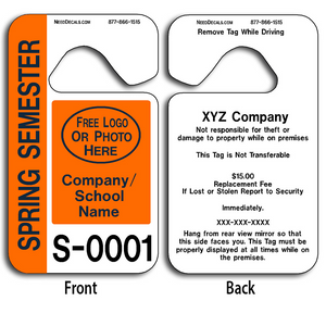 These durable Custom Student Parking Pass are UV laminated front and back to give you the strongest parking permit available. Order today and get Free Numbering and Free Back Printing.