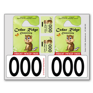 Extra Large Number Hang Tags - We are happy to offer our popular Parent Pick-Up Kit™ in four different configurations this year. These sheets make registration much easier and faster with no small tags to loose. Parents simply punch out the tags – no scissors needed. These full color plastic tags are extremely durable, convenient to use and are printed in photo quality. We can include a photo of your school or mascot against a white or colored background. There are endless design possibilities.