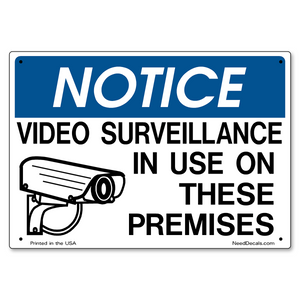 Video Surveillance On Premises Sign - 10 x 7 inches
