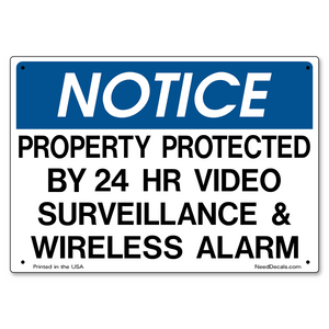 10x7 inch Sign -  Video Surveillance & Wireless Alarm