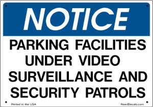 10x7 inch Sign - Parking Facilities Security