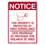 Bilingual Property Protected by Video Surveillance Decals
