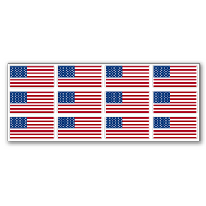American Flag Sticker Sheets - 12 Flags per Sheet 1 x 2 inch