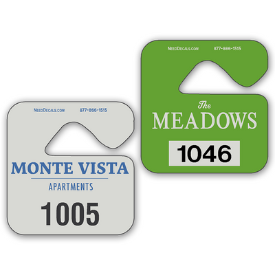 Hanging Parking Permits allow endless design possibilities and project a professional image. Available in over 30 Stock Ink Colors or unlimited custom colors. These durable Hanging Parking Permits are printed on heavy duty .035 inch material to give you the strongest parking permit available. Order today and get Free Setup, Free Numbering and Free Logo.