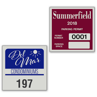 Reflective Windshield Parking Permits are available in  33 Stock Ink Colors or unlimited custom colors. These durable Windshield Parking Permits are printed on heavy duty engineer grade material to give you the strongest parking permit available. Order today and get Free Setup, Free Numbering and Free Logo.