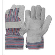 Candy Stripe Leather Work Gloves with Patch Palm
