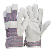 Candy Stripe Leather Work Gloves with Leather Palm
