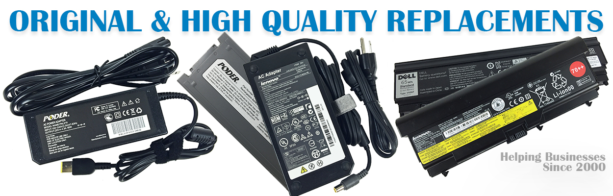 This image contains a variety of laptop batteries and laptop ac adapters along with the header original and replacement to show that Notebook Avenue not only carries replcaement batteries, but new, OEM, and original as well.
