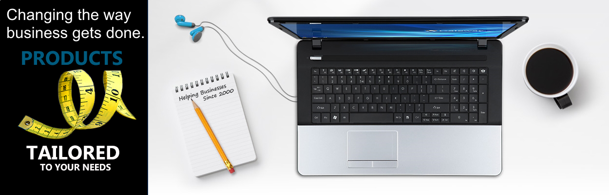 This image shows a workstation of a laptop and pencil and pad to convey that Notebook Avenue carries and has products tailored to fit business needs and purposes.