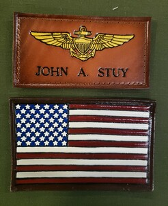 SALE!!! EMBOSSED NAMETAG AND AMERICAN FLAG (color)