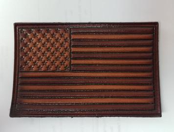 Embossed Leather American Flag (Brown)