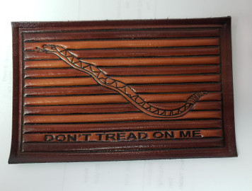 """Embossed Leather 1st Navy Jack (""""Don't Tread on Me"""") Brown"""