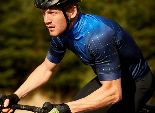 Cyclist wearing compression jersey
