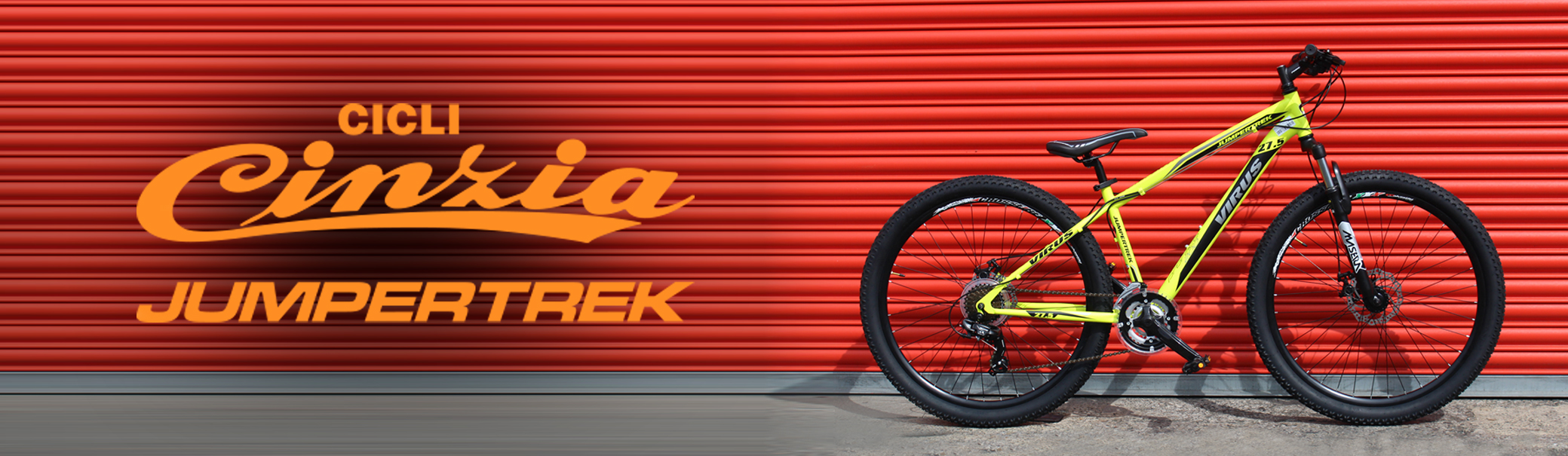 Cicli Cinzia Jumpertrek Virus bike in yellow on a red background
