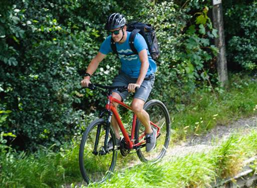 Man riding his Ridgeback mountainbike down a trail