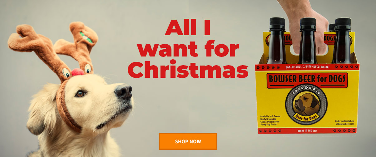 Dog in Antlers stares at Bowser Beer 6-Pack