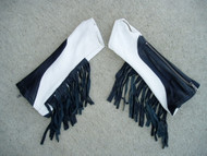 Black/White Combo with Black Fringe Leather Arm Chaps