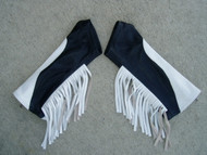 White/Black Combo with White Fringe Leather Arm Chaps