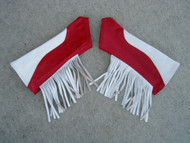 White/Red Combo with White Fringe Leather Arm Chaps