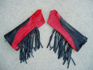 Black/Red Combo with Black Fringe Leather Arm Chaps