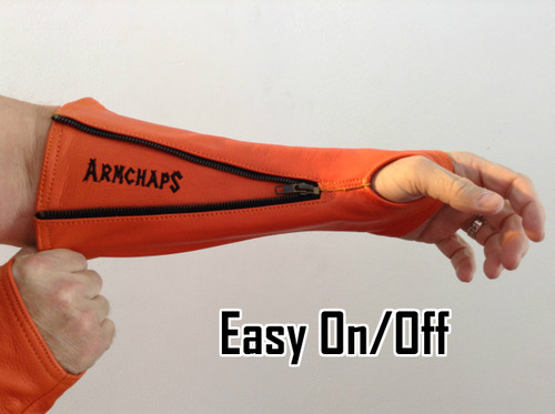 Leather  arm protection to prevent cuts, scratches, and bruises.