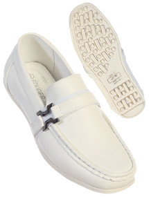 Boy's White/Black Leather Loafers With Buckle