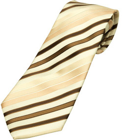 Boy's Beige-Brown Striped Tie