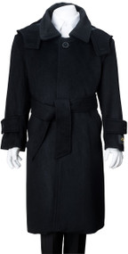 De Valoure Boy's  Wool Dress Coat Belted - Black