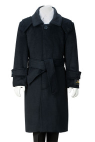De Valoure Boy's  Wool Dress Coat Belted - Navy Blue