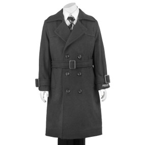Boy's Gray Double Breasted Hooded Dress Coat