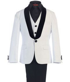 Boy's White 5 Piece Wedding Suit With Black Velvet Shawl Lapel