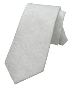 Boy's White Paisley Zipper Tie 14""