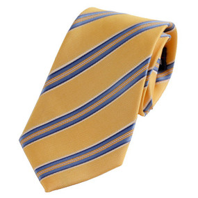 Boy's Yellow Striped Zipper Tie 14""