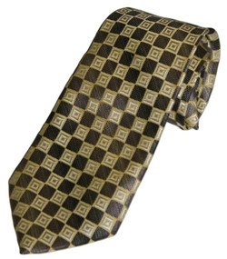 Boy's Grey/Mustard Checked Clip On Tie 14""