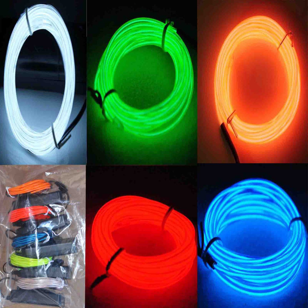 5 Pack Jytrend 9ft Neon Light El Wire W Battery Pack