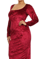 Velvet Long Sleeve Square Neck Bodycon Midi Dress (Curveology Size)