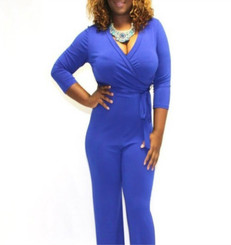 3/4 Sleeve, Wrapped Belted Waistline, Wide Leg Jumpsuit in Blue