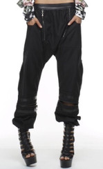 Harem Trousers with Soft Vegan Leather Trim, Funtional Zipper Details and Side Pockets, can be worn as Pants or Capri's.