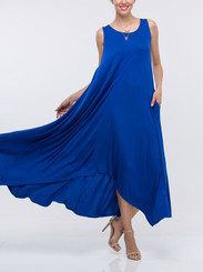 Sleeveless Flowy Maxi with Asymmetrical hem and side pockets in Ocean Blue