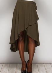 Flowy wrap skirt with ruffled edge and waist tie