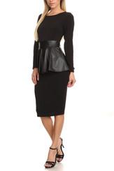 Long Sleeve Midi Dress with Leatherette Peplum
