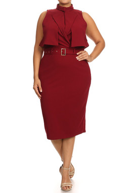 Sleeveless Belted Midi Coat Dress with High Crew Collar or Lapel Collar in Burgundy.