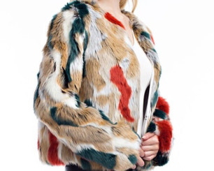 Mulit- Color Faux Fur Jacket with Side Pockets