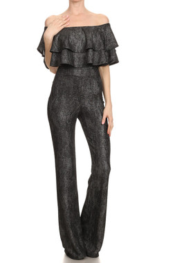 Off the Shoulder Ruffle Jumpsuit with banded waist and wide legs in Black Metal with hints of Gold.