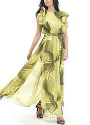 Ruffle Sleeve Maxi with Banded Waistline and High Split in Citrus