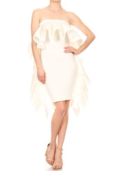 Convert Ruffle Tube Dress to Ruffle Midi Skirt in White...