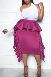 Convert Ruffle Tube Dress to Ruffle Midi Skirt in Magenta
