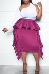 Convert Ruffle Tube Dress to Ruffle Midi Skirt in Magenta
